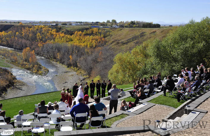 Wedding Venue Okotoks Calgary on outdoor high table and chairs