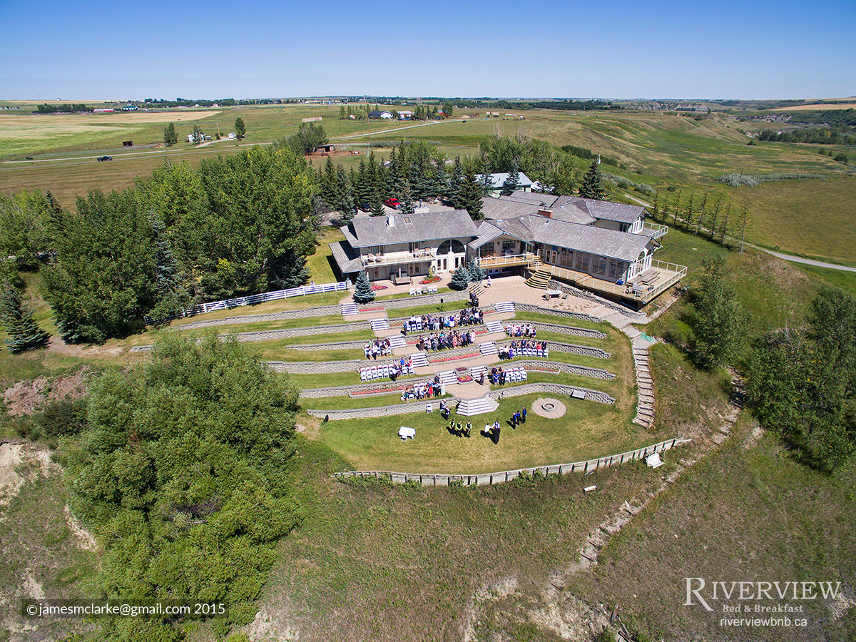 outdoor wedding okotoks aerial view